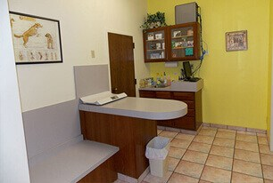 veterinary office exam room. room has yellow walls, bench for pet owner, exam table and cabinet for supplies